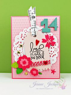 Jeanne Jachna: A Kept Life – Paper Smooches SPARKS Challenge - 14 - 2/13/14.  (Stamps:  Paper Smooches Love Struck. Dies: Paper Smooches Flowers, Numbers, Zig Zag Tag; Cheery Lynn French Pastry. Embossing Folder Lifestyle Crafts Linear). (Pin#1: Valentines (Heart/Love).   Pin+: Doilies).