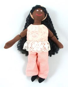 African American Doll in Peach Doll Clothes by JoellesDolls