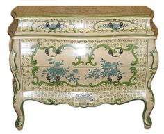 Great French Bombe Decorator Painted Commode Dresser  Ebay Seller Lake view Style