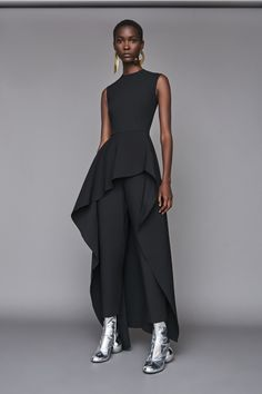 Solace London Soraya Jumpsuit Black from Fall Winter Sleeveless jumpsuit with a draped laser-cut asymmetric ruffle and fitted bodice. Black Women Fashion, Curvy Fashion, Womens Fashion, 50 Fashion, Fashion Styles, Trendy Outfits, Fashion Outfits, Fashion Advice, Black Jumpsuit