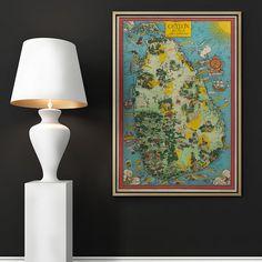 Ceylon Old Map Ceylon Map British Ceylon Ceylon Tea Poster