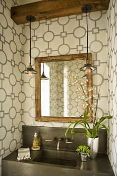 for powder room The powder bath is an excellent space to have a little fun and flex your creative muscles - perfect space to not take yourself so seriously! Modern Farmhouse Style, Modern Rustic, Farmhouse Chic, Vintage Modern, Rustic Chic, Rustic Wood, Bathroom Renos, Small Bathroom, Basement Bathroom