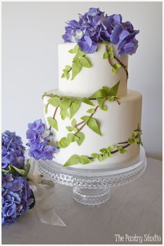 "A nature inspired cake design for a charming backyard ""Home Wedding."" Hydrangea cake design by, The Pastry Studio."