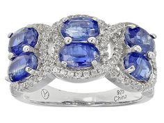 4.00ctw Oval Kyanite And .78ctw Round White Zircon Sterling Silver Ban