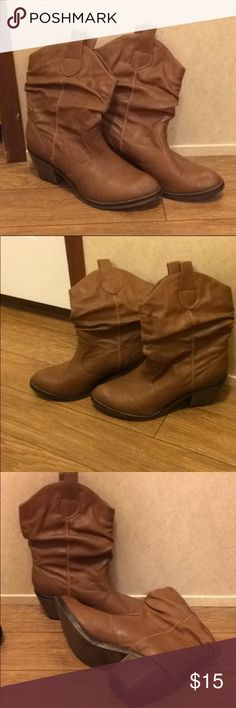 Brown Heeled Boots 👢 Good used condition, size 8. They're a little wrinkled and floppy right now because they haven't been worn in a long time. 🙂 But they have a whole lot of life in them left. Xappeal Shoes Heeled Boots