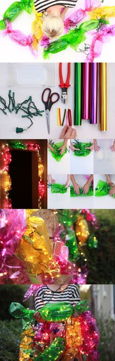 "christmas-lights into plastic corsage box, wrap with cellophane,use pipe cleaners to twist ends, lights hang out and go to next ""candy"""