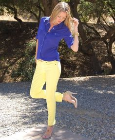 Cobalt and yellow street style