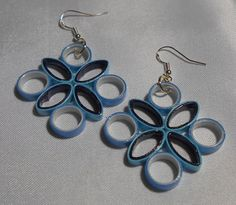 Blue on Blue Paper Earrings Medium Size Hang Beautifully  2G
