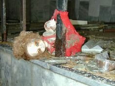 Creepy rotting babydoll in Chernobyl Abandoned Buildings, Abandoned Places, Spooky Scary, Creepy Kids, Nuclear Apocalypse, Chernobyl Disaster, Creepy Houses, Nuclear Disasters, Haunted Dolls