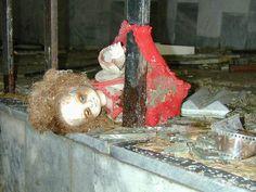 Creepy rotting babydoll in Chernobyl
