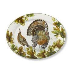 Botanical Leaf & Turkey Dinner Plates, Set of 4