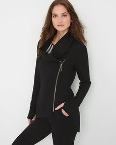 "Embrace the athleisure trend in this sporty black style with a foldover collar, requisite pockets and thumbholes. Complete your look with Supergas and black stretch leggings or our super-soft jeggings.  Leisure jacket  Rayon/nylon/spandex. Machine wash, cold.  Regular: Approx. 24.5"" from shoulder   Petite: Approx. 23"" from shoulder  Imported"