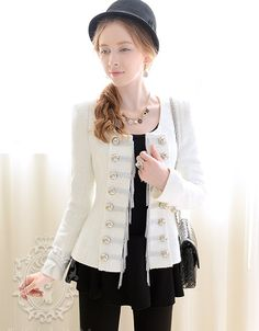 White with Silver Paillette Chain Long Sleeve Scoop Neck Coat(img 6)