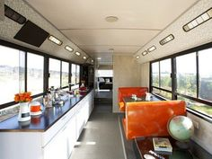 Scrapped public transport bus converted into chic living space.  Nice little bathroom, too.  (I always have to make sure!)