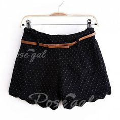 high waist black dotted shorts with belt loops and scalloped hem