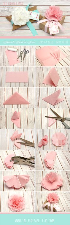 DIY TUTORIAL EASY AND SIMPLE, DO IT!  TO MAKE A CUTE FLOWER SILK AND PACKING PAPER VERY NICE GIFT FOR DAY MADRE.PASO EASY STEP AND EASY TO DO IT!