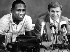 On May 5, 1984, Michael Jordan held a press conference with head coach Dean Smith to announce that he was forgoing his final year of college eligibility and heading for the pros.  AP