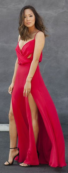 Red Double Split Gown by Song Of style