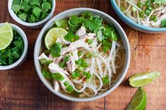Quick weeknight chicken pho from expert Andrea Nguyen! Shortcut version of traditional Vietnamese noodle soup. 30-minutes. Gluten-free.