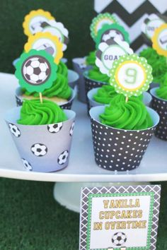 baby first birthday Baby Shower Cakes For Boys, Baby Shower Party Favors, Baby Shower Parties, Soccer Birthday Parties, Soccer Party, Baby First Birthday, Girl Birthday, Birthday Ideas, Soccer Cupcakes