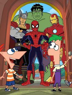 É, Phineas e Ferb conheçem Thor, Hulk, Homem-Aranha e Homem de Ferro! Obs: Capitão América não está no especial.