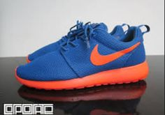 Nike Roshe Run Dark Royal Blue-Team Orange Running Sneakers, Sneakers Nike, Roshe Shoes, Nike Roshe Run, Nike Flyknit, Air Max 90, Auburn, Nike Free, Royals