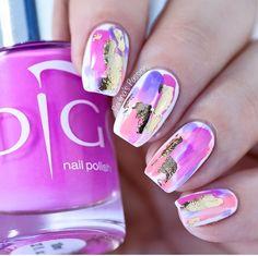 Nails Polish Tutti Frutti, Summer Joy, Lily + Gold Foil Instagram: @paulinaspassions #nails #nail #nailsart #indigo #indigonails #foil #gold #pink #pinknails #summernails #springnails