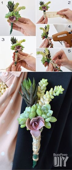 For an all natural wedding - a boutonniere made from living succulents!