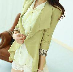 Elegant Lapel Neck Leopard Print Cuff Flounce Hem Long Sleeve Slimming Cardigan Design Women's Blazer