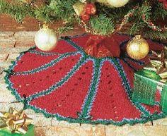 red white and green crochet christmas skirt