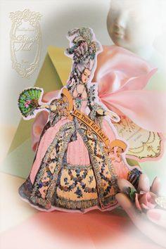 Marie Antoinette Custom Invitations Large Die Cut Design with Shimmering Pink Envelopes. $35.50, via Etsy.