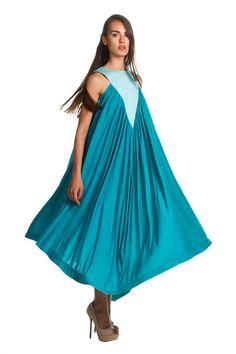 L5326B  Turquoise Viscose KAFTAN / Summer dress / Beach by Jiors