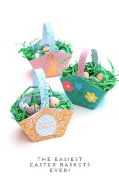 Make Easter Extra Special By Making Your Own Easy Easter Baskets To Hold Your Chocolate Eggs. A Fun Homemade Craft To Make With Kids. Design With Stickers To Make Unique Gift. Origami Egg, Diy Origami, Craft Stick Crafts, Crafts To Make, Paper Crafts, Easter Party, Easter Table, Easter Gift, Easter Crafts For Kids
