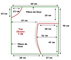 """Alors alors, voici le tuto simplissime d'un top """"chrono"""". Couper un morceau de tissu 90cm X 140 cm, le plier en 2 pour obtenir..."""