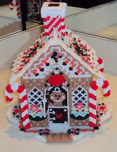 "GINGERBREAD HOUSE PLASTIC CANVAS 12"" - COMPLETE - NOT A KIT"