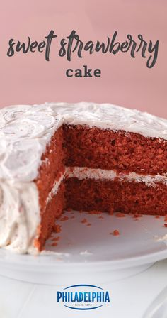 Sweet Strawberry Cake – Enjoy this warm weather-inspired dessert recipe today! Smooth and fruity, this homemade treat is sure to help you celebrate all occasions—like graduation parties and Mother's Day—this spring. Baking Recipes, Cake Recipes, Dessert Recipes, Dessert Ideas, Appetizer Recipes, Appetizers, Cheesecakes, Cake Cookies, Cupcake Cakes