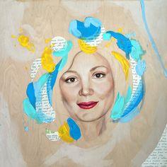 Natasha. 24x24x1.6 mixed media portrait on wooden panel. Process shot, wip, portrait, female, beautiful, feminine, commission, modern art, contemporary art, colorful, letter, home decor, interior design, Natalia Berglund.