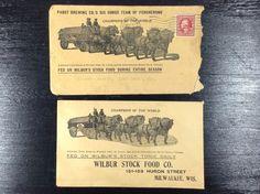2 Pabst Blue Ribbon Beer Envelopes Wilbur Stock Horses Milwaukee Pre-prohibition #cjbeez #beer #breweriana #mancave #bar #pub