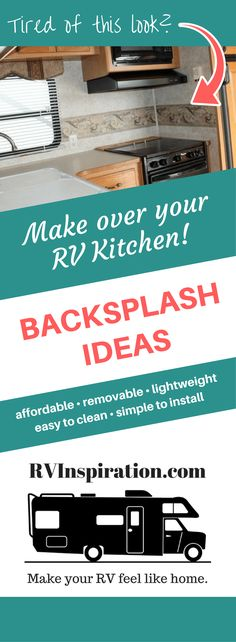 Lightweight, easy to install, removable backsplash ideas for a camper, motorhome. Easy Home Decor, Home Decor Kitchen, Apartment Kitchen, Kitchen Ideas, Beach Trailer, Trailer Deck, Removable Backsplash, Cheap Rv, Rv Upgrades
