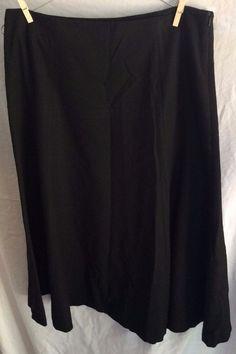 Eddie Bauer A-Line Skirt Wide Waistband Below Knee Thin Black Ponte Womens 8 #EddieBauer #ALine