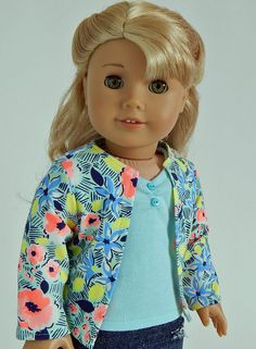 18 inch doll clothes-Floral Cardigan Mint Tank Top with Denim