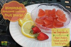 Homemade strawberry lemonade jelly fruit snacks—TWO ingredients! Super easy and quick.