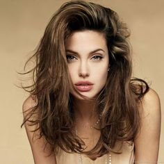 Angelina Jolie messy mid-length hair style