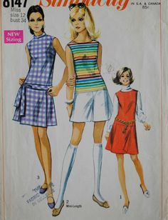 Uncut Vintage 1960s Misses Sleeveless Low Waist Back Zipper Stand Up Collar Tie Belt Pant Dress or Jumper Size 12 Bust 34 Sewing Pattern
