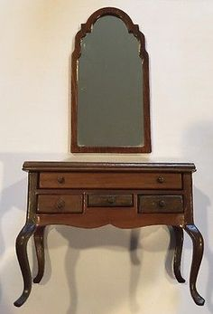 Sonia Messer Dollhouse Miniature Low Boy Lowboy Table Mirror Wood Furniture 1:12