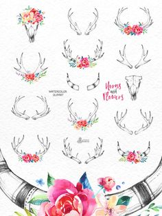 This set of 14 high quality hand painted watercolor and pencil horns with floral elements. Perfect graphic for logos, tatoos, wedding invitations,