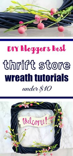 Skip the expensive wreaths and create your own DIY spring wreath using a thrift store find!