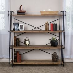 Yorktown 4-Shelf Industrial Bookcase by Christopher Knight Home (Brown)