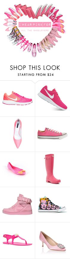 """Pink for Shoelovers"" by vtomasikova ❤ liked on Polyvore featuring NIKE, Emanuel Ungaro, Converse, J.Crew, Hunter, Moschino, Michael Kors and Manolo Blahnik"