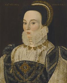 1573,Portrait of a Lady.Circle of George Gower (1540- 1596) oil on panel,(52.7 × 41.9 cm) Inscriptions-top left: ANo DNI 1573.top right: ÆTATIS SUÆ 24.Source /Sotheby's,Sale 12037,Lot 108.